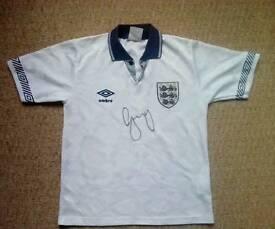 Gary Lineker signed England shirt, Rare!