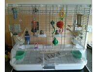 Vision bird cage and lots of toys
