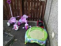 Gone awaiting collection! Free! 2 girls trikes toy car and kids minin trampoline.
