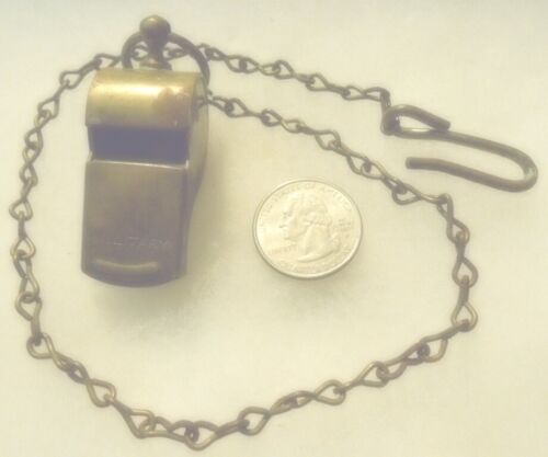 """fl830md - Antique Brass Military Whistle w/ Cork Ball Made In USA - on 16"""" Chain"""