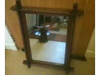 VINTAGE WOODEN CARVED MIRROR WITH BARLEY TWIST DECOR