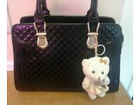 Pvc black quilted handbag with matchng purse and teddy keyring