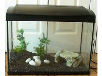"For sale AQUARIUM 23""x17""x12"" , 58x42x12cm With lighting and ground ,70 liters Hayes"