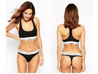 Womens Black Calvin Klein Underwear Set Crop Top Bra Thong Hipster New With Tags And Box Size S 6-8