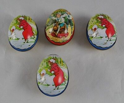 Vintage Lot Of 4 Ian Logan Design Swiss Made Tin Easter Eggs Two Patterns DD4G10