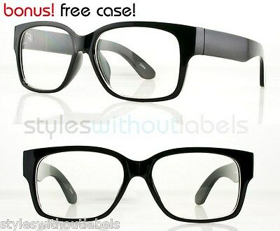 80s Super Retro Thick Square Black Frame Style Glasses Clear Lens Nerd Hipster (Thick Hipster Glasses)