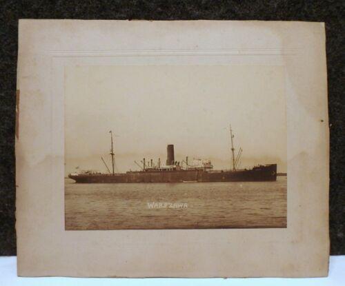 VINTAGE WW2 Warszawa Steam Merchant SHIP PHOTO SUNK BY  U-559 GERMAN TORPEDOS