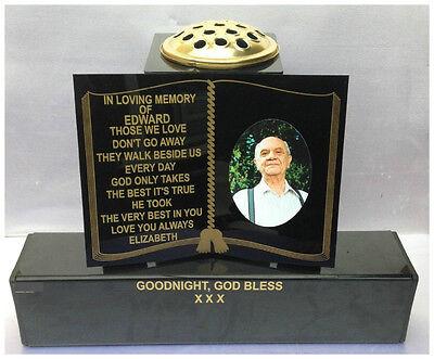 Personalised Memorial Grave Book Marker Headstone Tribute Flower Vase Cemetery