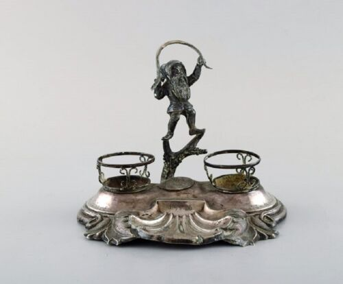 Swedish silversmith. Writing kit/inkwell in silver with elf. 1890