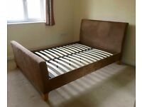 Sleigh Brown Suede Double Bed Frame - Free Delivery In Southampton