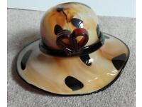 Murano style artglass ladys hat bowl
