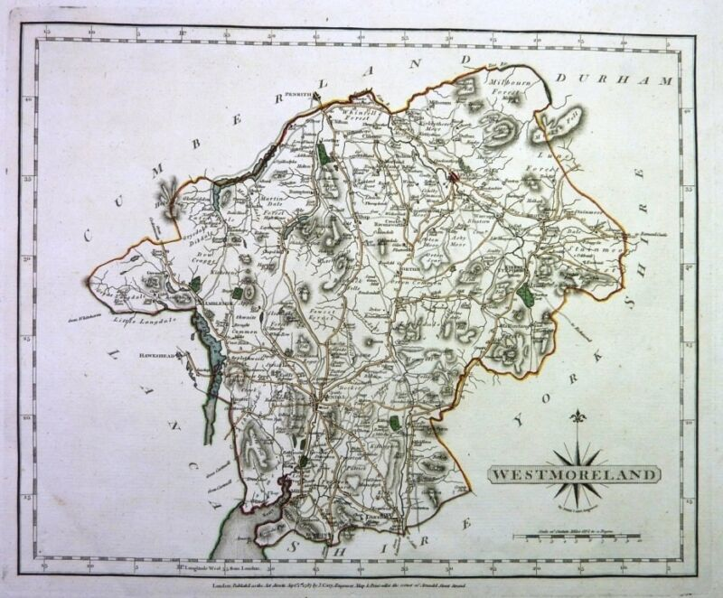 Antique map, Westmorland ..
