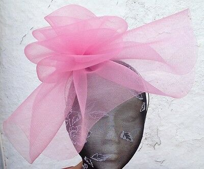 baby pink fascinator millinery burlesque wedding hat ascot race bridal party 1