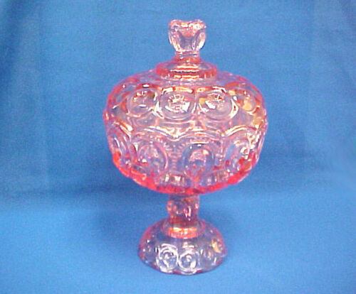 "Moon & Star Pink Footed 9 3/4"" Lidded Compote~ Weishar"