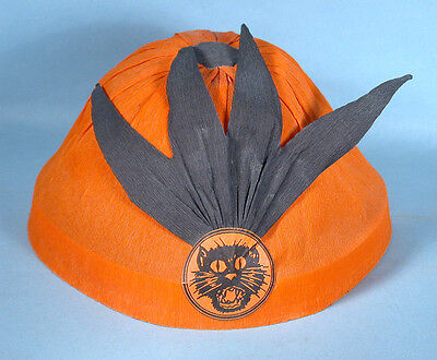1930s German Halloween Masquerade Party Hat Crepe Paper Black Cat Feather-like  (Black Cat Feather Mask)