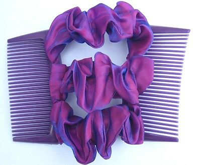 purple satin fabric material double elastic stretch hair comb updo bun maker 1