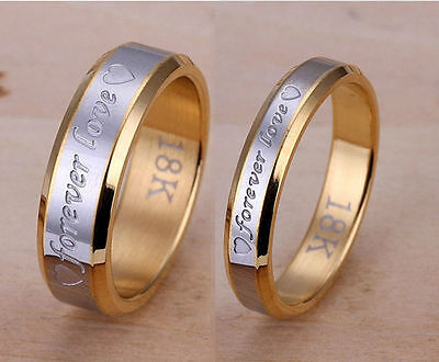 Gold Love Ring - Classic Forever Love Ring Silver & 18K Gold Rings Set Wedding Engagement Band US