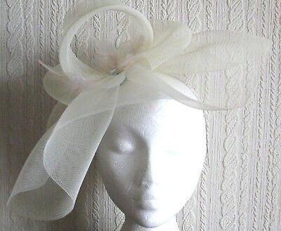 ivory feather headband fascinator millinery hat wedding
