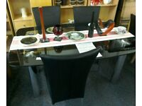Glass black dining table and 4 chairs #29328 £149