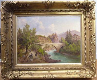 "Jacob CANCIANI - "" Villach "" olio su tela , splendida cornice d'epoca, firmato"