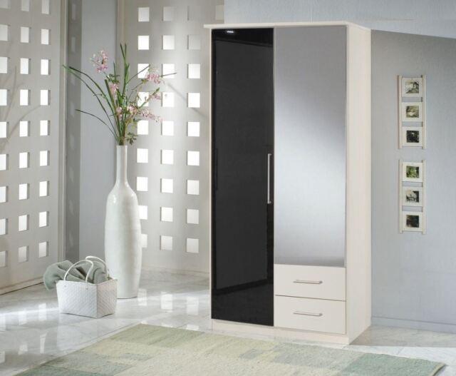 German 2 Door Drawer Black Gloss and White Mirror Wardrobe NEW