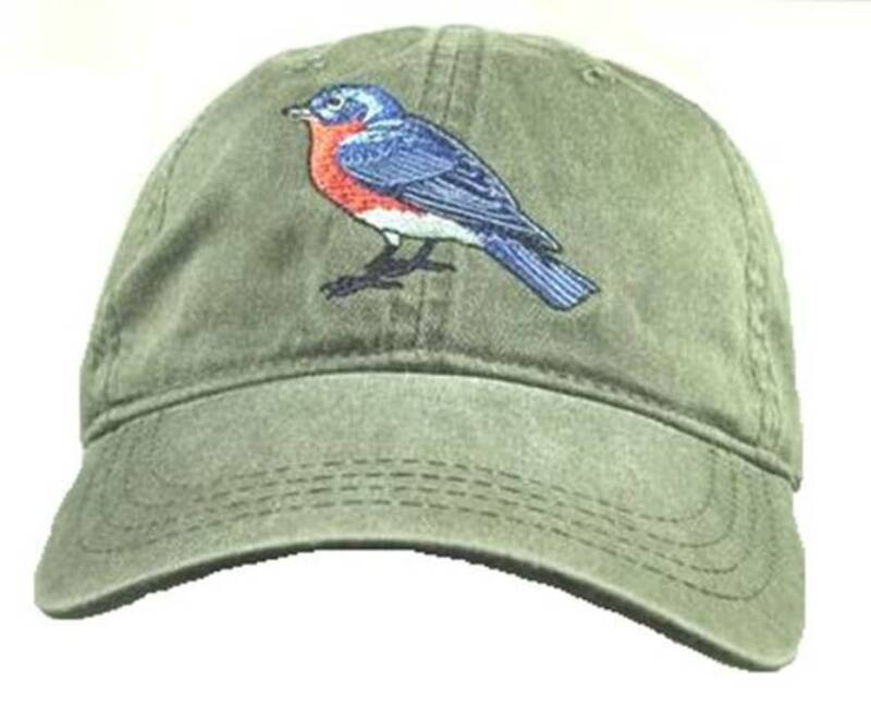 Eastern Bluebird  Embroidered Cotton Cap Hat Bird Ornithology