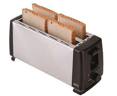 4 Scheiben Edelstahl Toaster 2 Langschlitz Röster 1300 Watt max. Neu