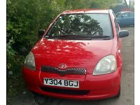 Cheap Toyota Yaris 1.0, 4 doors, red, long MOT, Full Service History, Just Serviced.