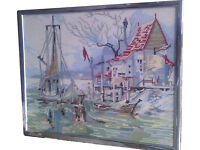 Needlepoint / Wool Tapestry Picture in Frame Period Wharf Front + Boat Scene 43cm High x 53cm Wide