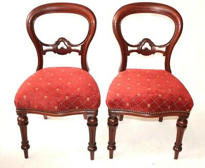 A Pair of Antique Mahogany Balloon Back Chairs - FREE Shipping [5496]