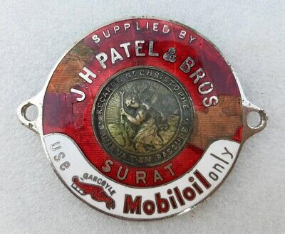 Vintage Old Rare Copper Enamel Gargoyle Mobile Oil J.H Patel & Bros. Logo Batch