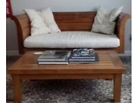 "Stunning solid teak set of 2 craftsman made ""daybeds"" and matching coffee table all in excellent con"