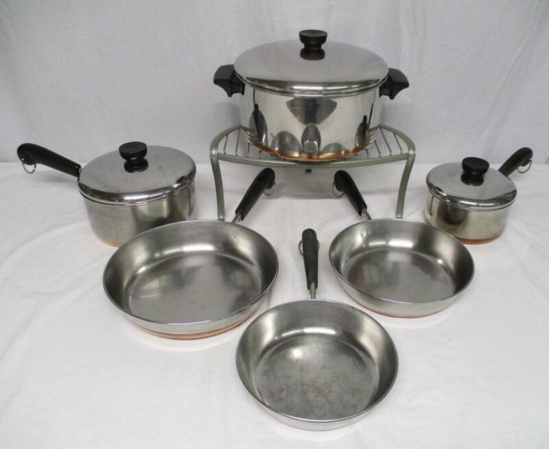 Revere Ware copper clad stockpot saucepans skillets lids pots pans 9 PIECE SET