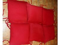 6 RED / Terracotta Kitchen Dining Room Chair Cushions