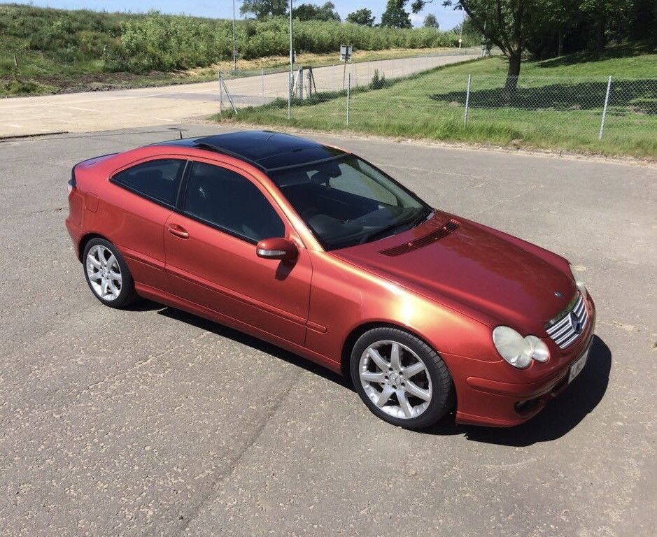 Mercedes manual c class c220 cdi coupe 2005 54 diesel orange panoramic roof black leather - Mercedes c class coupe diesel ...