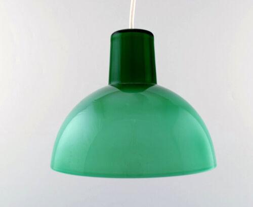 Kastrup / Holmegaard. Rare work pendant lamp in green opaline glass.