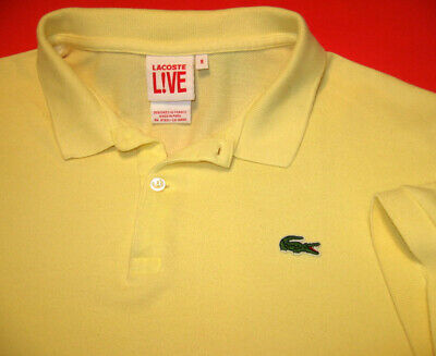 ✔️ LACOSTE Live Golf Polo Shirt Sz (8) (L) Sewn Alligator Logo Light Yellow
