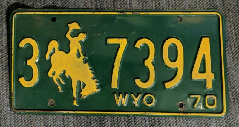 Original 1970 Wyoming License Plate