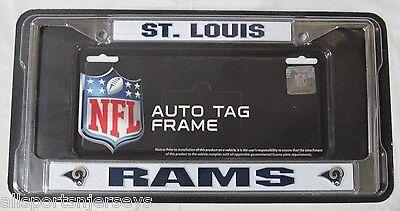 NFL ST Louis Rams Chrome License Plate Frame Thick Blue - Louis Rams Chrome License Plate