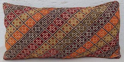 18x33 Vintage Handmade Ottoman Decor Sitting Kilim Pillow Cover,Giant Cushion