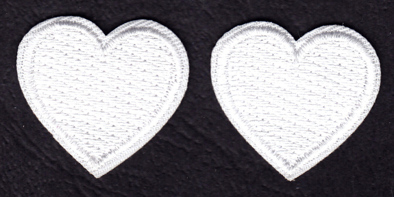 SET OF 2 WHITE HEARTS  - Iron On Embroidered Patch - Heart,
