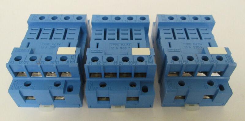 (3) Finder 96.74 Sockets 15A 250V