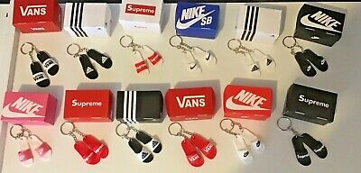 Boxed Designer Keychains Keyrings Nike, Adidas, Supreme, Vans Sliders Flip Flops