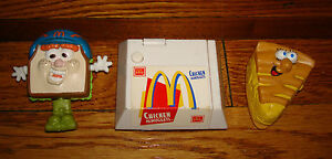 x3-Lot-CHICKEN-NUGGETS-Sandwhich-MCDONALDS-Happy-Meal-Toys-Vintage-1990s-90s