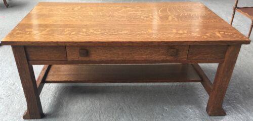Antique Oak Arts & Crafts Coffee Table