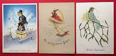 3 x Künstler AK NEUJAHR um 1950 Schornsteinfeger, Fliegenpilz und Elfe   ( 6459