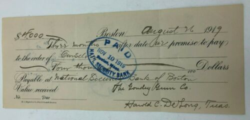 1919 Goudey Gum Trading Card Company Promissory Note Signed Harold Delong