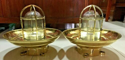 Nautical Ship Marine Passageway Bulkhead Brass Ceiling Light With Shade 2 Ps
