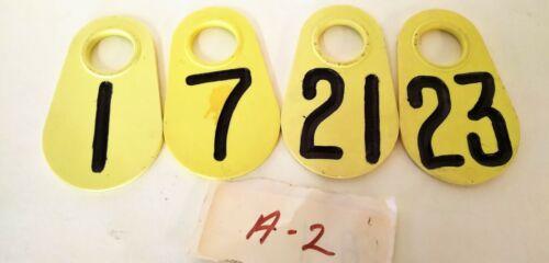 Lot of 4- Vintage Cattle/ Livestock Ear Marking Tag Plastic