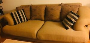 Beautiful, comfy sofa and chair with pillows